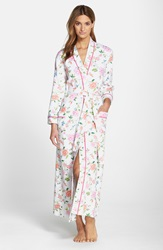 Carole Hochman Long Cotton Robe Chinoiserie Vines And Birds