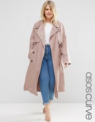 Asos Curve Mac With Waterfall Drape And Roll Back Sleeve Blush Pink