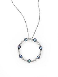 Effy Diamond 3Mm Pearl And 14K White Gold Pendant Necklace