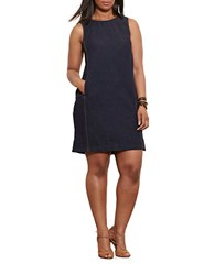 Lauren Ralph Lauren Plus Leather Trimmed Sleeveless Denim Dress Jones Street Wash