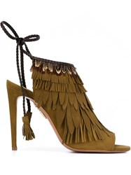 Aquazzura Fringe And Feather 'Pocahontas' Sandals Brown