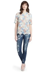 Women's Dolce And Gabbana Macrame Lace Flower Top Multi