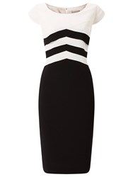 Jacques Vert Layers Bodice Crepe Dress Black White