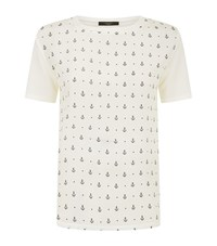 Max Mara Weekend Geranio Anchor Print Silk T Shirt Female White