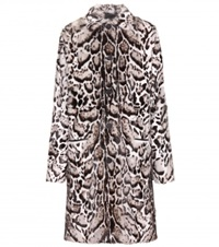 Christopher Kane Jaguar Printed Fur And Leather Coat Brown