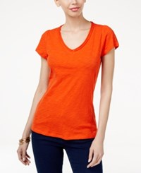 Inc International Concepts Cotton V Neck T Shirt Only At Macy's Cosmic Orange