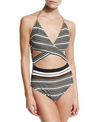Gottex Regatta Metallic Stripe Cutout Swimsuit Black White Black White