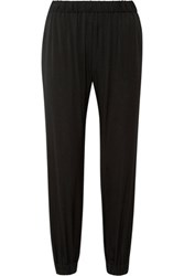 Milly Gathered Silk Blend Satin Tapered Pants Black