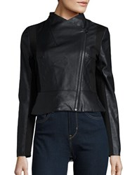 French Connection Knit Accented Faux Leather Jacket Black