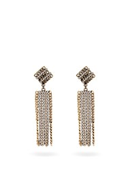 Alessandra Rich Crystal Embellished Chain Drop Earrings