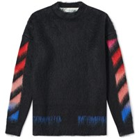 Off White Diagonals Brushed Mohair Knit Black