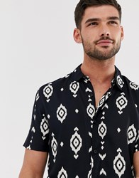 New Look Revere Collar Shirt With Aztec Print In Black