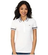 Lacoste Short Sleeve Contrast Tipped Collar Polo Shirt White Navy Blue Pralin Women's Short Sleeve Knit