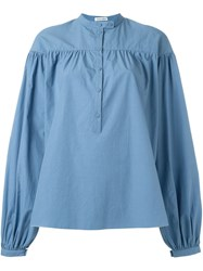 Tomas Maier Long Sleeve Ruffled Blouse Blue