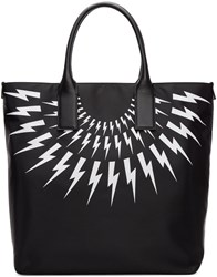 Neil Barrett Black Fairisle Thunderbolt Tote