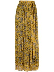 Etoile Isabel Marant Floral Chiffon Skirt Yellow Orange