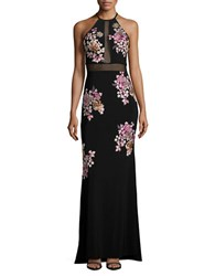 Xscape Evenings Rhinestone Embroidered Column Gown Black Multi