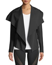 Michi Chicane Open Front Jacket With Ribbed Sleeves Black