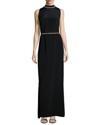Shoshanna Sleeveless Beaded Neck Waist Column Gown