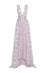 Luisa Beccaria Organza Embroidered V Neck Gown Purple
