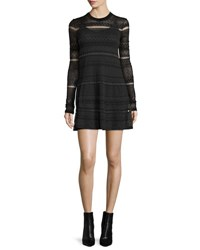 Mcq By Alexander Mcqueen Long Sleeve Lace Skater Dress Darkest Black