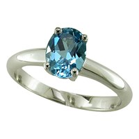 Ewa 9Ct Gold Oval Ring Blue Topaz