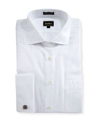 Neiman Marcus Classic Fit Non Iron Striped Dress Shirt White