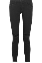 Mother Looker Distressed Mid Rise Skinny Jeans Black