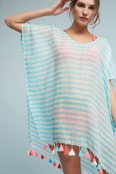 Anthropologie Striped Kaftan Cover Up Turquoise