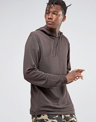 Asos Hoodie In Crepe With Side Zips Brown