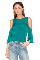 1.State Cold Shoulder Flounce Top Green