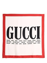 Gucci World Print Washed Silk Scarf White Red