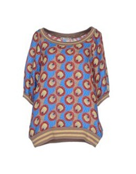 Peacock Blue Blouses Red