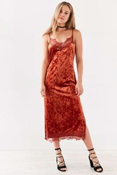 Bog Collective Crushed Velvet Lace Midi Slip Dress Burnt Orange