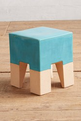 Anthropologie Glaze Dipped Side Table Hawaiian Blue