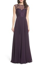 Hayley Paige Occasions Lace And Chiffon Gown Plum
