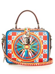 Dolce And Gabbana Soft Majolica Print Leather Box Bag Blue Multi