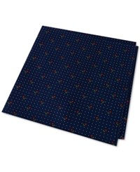 Tommy Hilfiger Men's Flower Pin Dot Pocket Square Navy