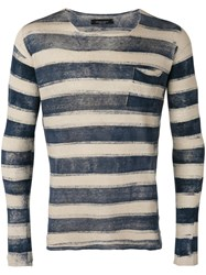 Roberto Collina Striped Fine Knit Jumper Men Linen Flax 50 Nude Neutrals