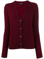 Theory V Neck Cardigan Red