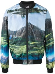 Love Moschino Landscape Print Bomber Jacket Men Polyester 48 Blue