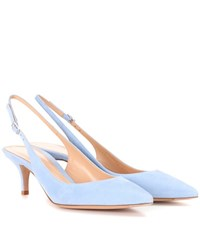 Gianvito Rossi Jackie Suede Sling Back Pumps Blue