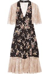 Anna Sui Paneled Printed Silk Crepe De Chine And Lace Dress Black