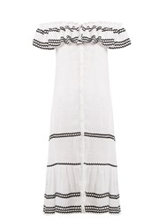Lisa Marie Fernandez Mira Ruffle Trimmed Button Through Linen Dress White Multi