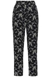 Co Woman Floral Jacquard Tapered Pants Black