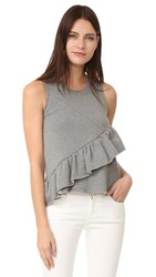 Carven Ruffled Sleeveless Top Gris Chine