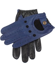 Dents Waverley Two Tone Leather Driving Gloves Royal Blue Black