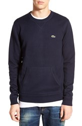Lacoste Lve Men's Lacoste L Ve Kangaroo Pocket Crewneck Sweater Navy Blue
