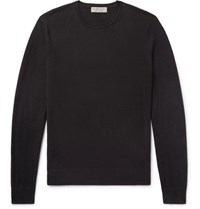 Burberry Elbow Patch Cashmere And Cotton Blend Sweater Black