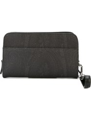 Etro Paisley Pattern Clutch Bag Black